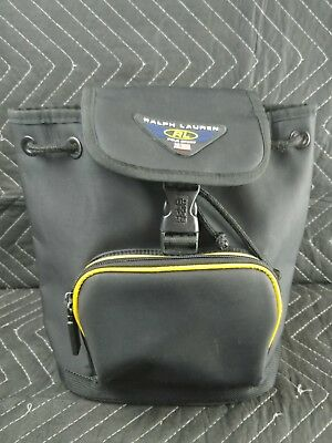 7d7d9cc12175 Vintage POLO Sport Black   Yellow Backpack Bag Back Pack 90s Gym Duffle VTG