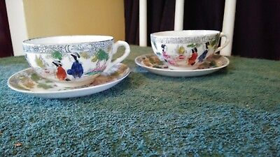 2 Antique Japanese Eggshell Porcelain Tea Cup and Saucer Set With WWII Sticker