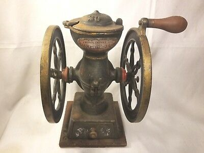 "Crown Coffee Mill Grinder Landers Frary & Clark 8.5"" Wheels"
