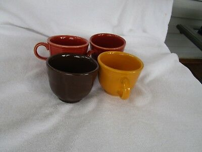 MIXED COLORS~Genuine Fiesta Ware Cups~ [ SET of Four]~~NICE!!!!!