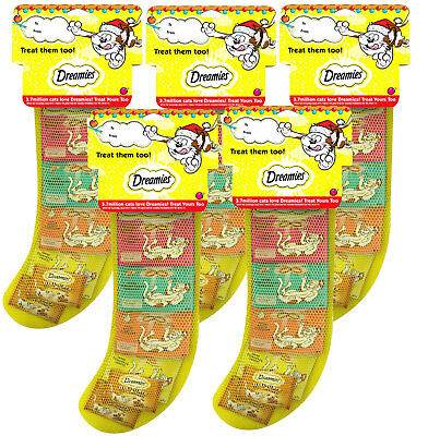 5 x Dreamies Cat Christmas Stocking (Cheese, Chicken, Salmon & Beef Treats)