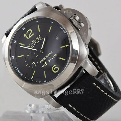 Big dial power reserve 49mm parnis seagull automatic military watch black DIAL