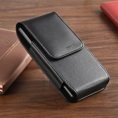 Black Vertical Leather Pouch Case Cover Belt Loop Holder for Large Cell Phones