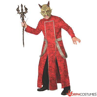 Mens Deluxe Red Devil Halloween Fancy Dress Costume Adult Lucifer Satan Outfit