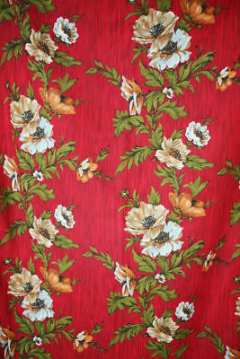 Vintage PAIR of French RED FLORAL DESIGN curtains LINED c1950