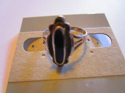 Vintage Onyx Ring Sterling Silver Size 8 southwest native american