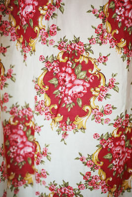 Vintage French cotton CURTAIN floral design medaillons GATHERS c1950