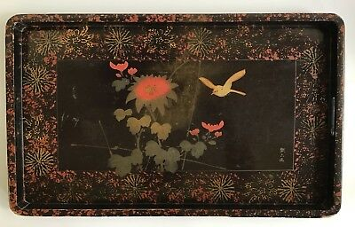Early 20th C Japanese Lacquerware Deep Black & Gold, Bird, Flower & Chop Mark