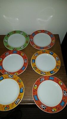 DUNOON FUNKY FARM SALAD OR DESSRT PLATES X 6 by Jane Brookshaw