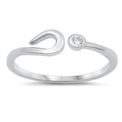Horseshoe Toe Ring Genuine Sterling Silver 925 Clear CZ Jewelry Face Height 7 mm