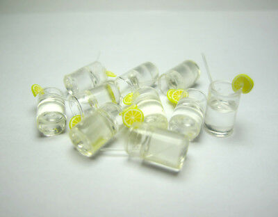 10 Dollhouse Miniature Kitchen Clear Lemon Water Cup Food Drink Glass Bar Decor