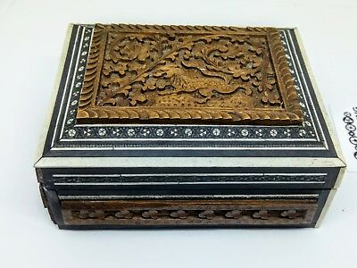 Antique REPAIR RESTORATION PROJECT Carved Inlaid marquetry parquetry Wood Box
