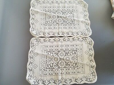 """3 Off-White Lace Like Crocheted Placemats--16"""" x 12"""" Rectangular"""