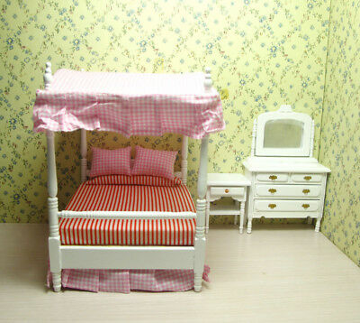 3 Dolls House Miniature Bedroom Furniture Set Canopy Bed Dresser Table 1:12 Toy