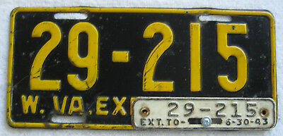 1942 West Virginia License Plate with 1943 Year Tab