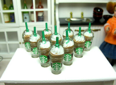 10 Dolls House Miniature Starbucks Ice Cream Coffee Cup Food Drink Chocolate 1/6