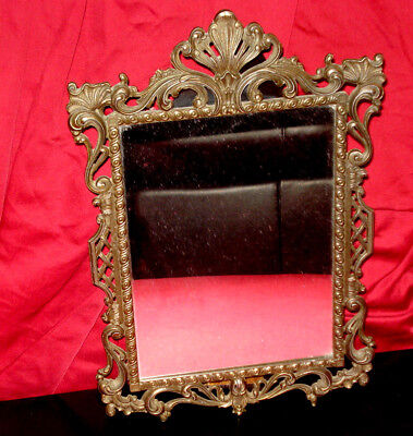 Beautiful Vintage Brass Wall Mirror - Very Decorative - Gently Used!