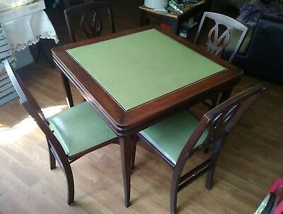 RARE Vtg 1930s Louis Rastetter/Solid Kumfort Wood MATCHING Card Table & 4 Chairs