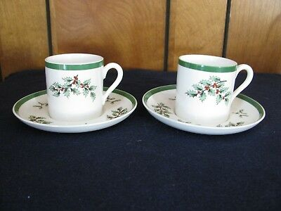 Copeland Spode Demitasse Christmas Holly Cup And Saucer (2) - Made In England