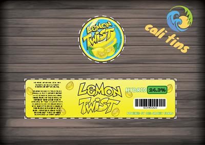 10x Lemon Twist 60ml Cali Tin JAR labels