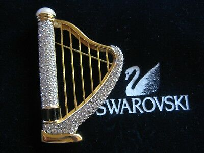 Swarovski Signed Clear Crystal & Black Harp Pin Brooch