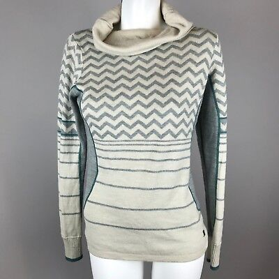3a7d8a402c6 Smartwool Womens Cowl Neck Chevron Knit Sweater Size Small Merino Wool Blend