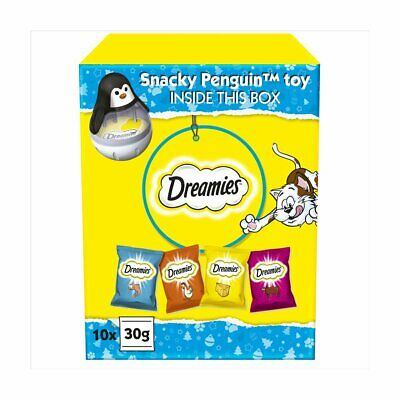 Dreamies Christmas Gift Box for Cats (10 x 30g Treats & Wobbler Snowman Toy)