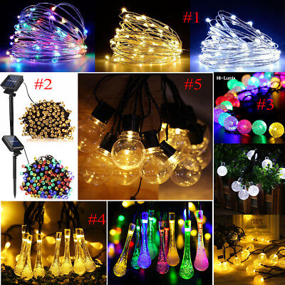 50/100/200 LED Solar Garden String Fairy Lights Weeding Outdoor Party Waterproof