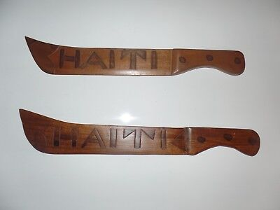 Vintage Haitian Hand Carved Wooden Knives Swords Wall Art And Haitian Woven Bag