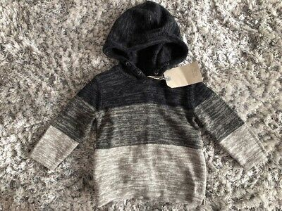 Zara Striped Knit Hooded Jumper 12-18 Months Bnwt