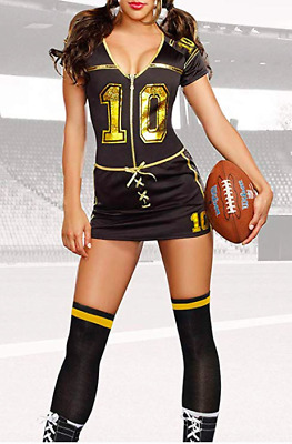 Sexy Player Football Costume Touchdown Small Black Halloween