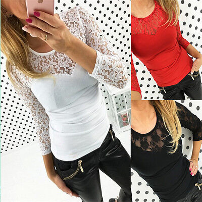 Sexy Lady Women Lace Blouse Long Sleeve T Shirt Summer Casual Tops Shirts N7