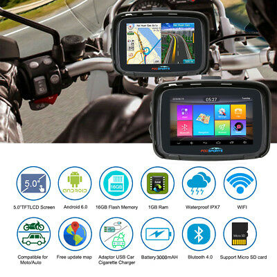 "5"" Android 6.0 BT Motorcycle Car Bike GPS Navigation Navigator 16GB SAT NAV+Maps"
