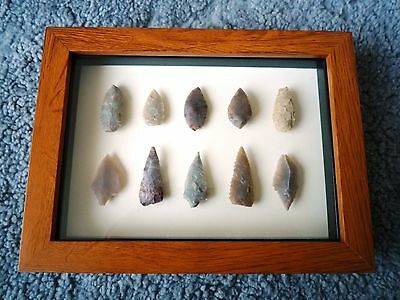 Neolithic Arrowheads in 3D Picture Frame, Authentic Artifacts 4000BC (0896)