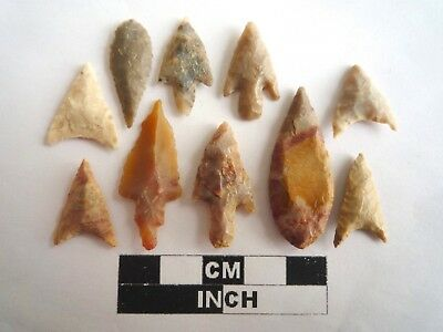 Neolithic Arrowheads x 10, High Quality Selection of Styles - 4000BC - (2136)