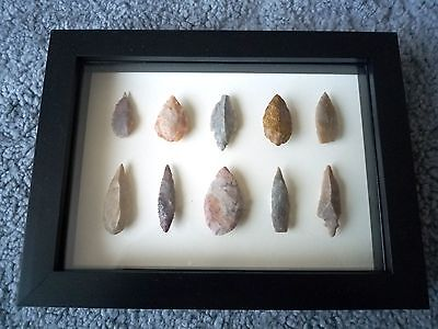 Neolithic Arrowheads in 3D Picture Frame, Authentic Artifacts 4000BC (0870)