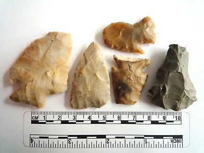 Native American Arrowheads found in Texas x 5, dating from approx 1000BC  (2258)