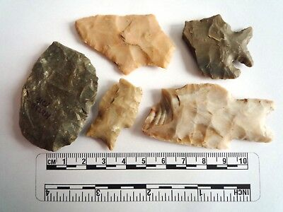 Native American Arrowheads found in Texas x 5, dating from approx 1000BC  (2274)