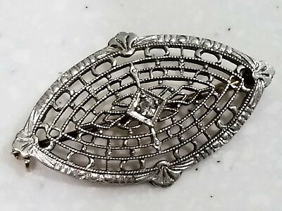 Antique Art Deco Hallmarked Stamp 14K Gold Platinum Diamond Filigree Brooch Pin