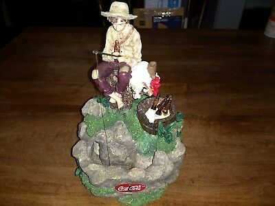 """Coca Cola Norman Rockwell's 1935 """"Gone Fishing"""" Statue With Waterfall"""