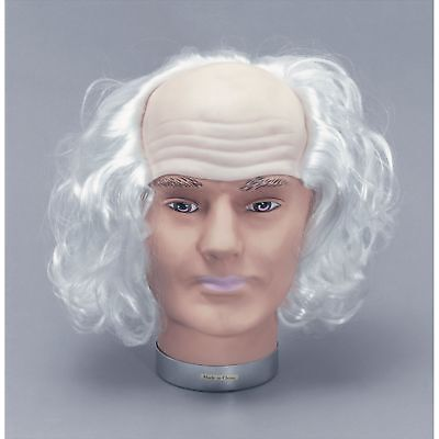 HALLOWEEN HORROR OLD MAD MAN WHITE HAIR WIG Adults Mens Fancy Dress Costume