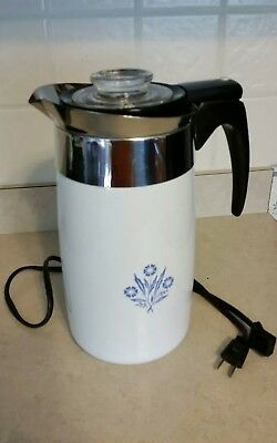 Corning Ware Cornflower Blue 10 Cup Electric Perculator Coffee Pot EUC