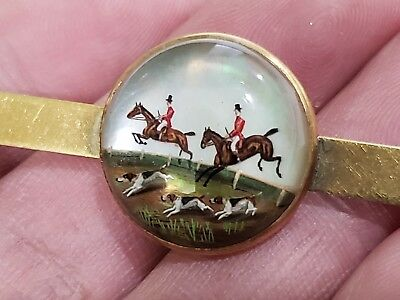 Antique Victorian 14kt Gold Oval Glass Hand Painted Hunting Scene Picture Brooch