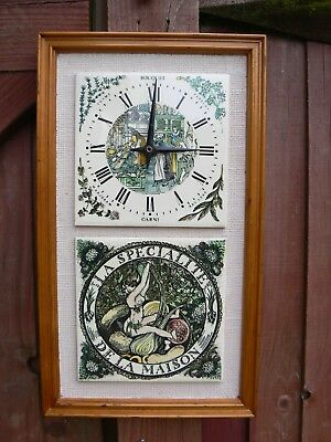 Vintage Kitchen Wall Mounted Clock Tiled German Movement