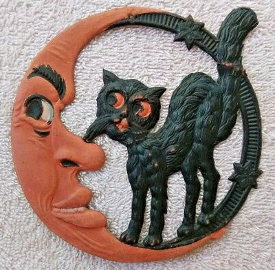 """antique halloween die-cut moon & black cat decoration - 5"""" - made in Germany ░░░"""