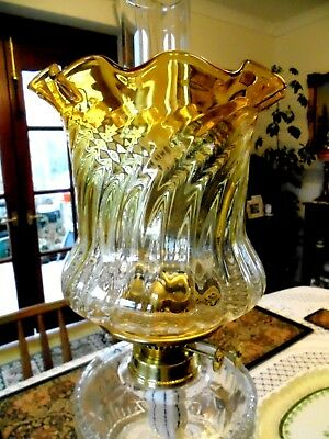 British Quality Golden Amber/clear Crystal Glass Duplex Oil Lamp Shade.