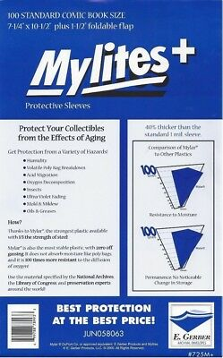 100 Mylites+ STANDARD SIZE  1.4-mil Mylar Comic Bag Sleeves 725M+ by E. Gerber