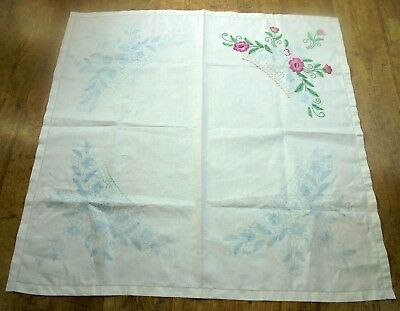 Vintage linen embroidered tablecloth to complete. Beautiful floral design ,