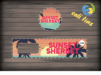 10x Sunset Sherbet 60ml Cali Tin JAR labels