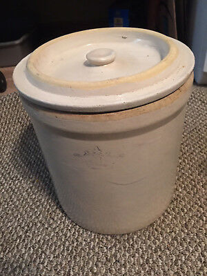 Vintage 3 Gallon Robinson Ransbottom Crown Stoneware Crock with Pristine Lid